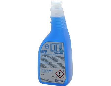 Dry Detergente a base di solventi specifico per la pulizia di vetri, specchi e superfici in genere. Dissolve ed elimina rapidamente macchie, residui nicotinici, impronte, grasso, etc.