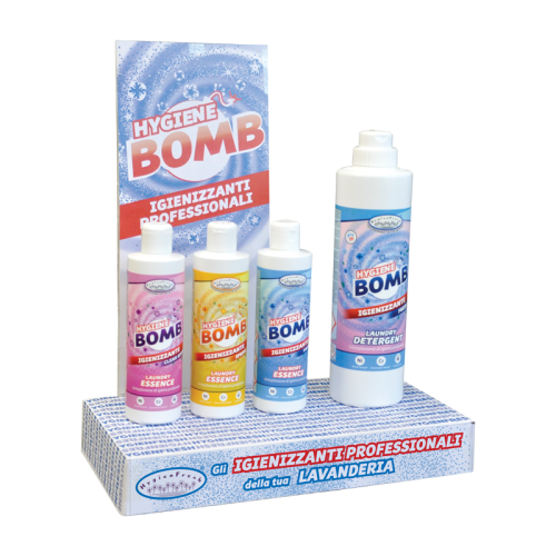 Espositore in cartone dedicato alla linea Hygiene Bomb