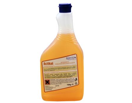 Actikal Disincrostante acido liquido, gradevolmente profumato, idoneo per la rimozione di residui calcarei da lavabi, docce, rubinetteria, etc.